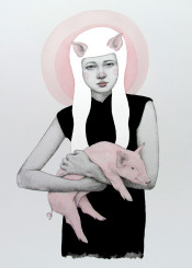pig pink girl watercolor ink