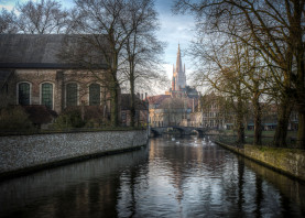 bruges belgium brugge landscape church canal