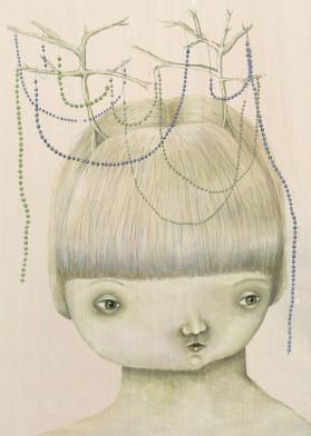 portrait antlers beads face illustration