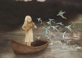 illustration girl boat river fish music horn morning