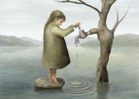water landscape children whimsical tree boy