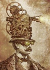 projector victorian film surreal steampunk moustache stars night fantasy dream sepia drawing