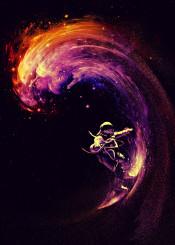 space surfing galaxy wave stars astronaut cosmonaut