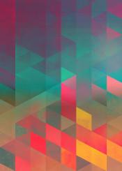 abstract geometric spires teal pink orange purple