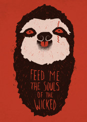 sloth animal humor pop art horror scary funny weird cute red colorful