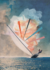 sailing boat sea wind colors sky clouds sun sky escape blue collage mixed canvas grung