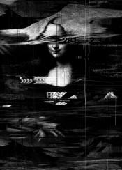 black white mona lisa painting glitch