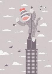 sock monkey grey parody king kong architecture animals funny ronan lynam