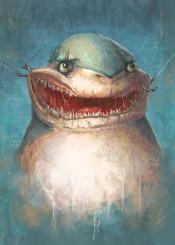 funny sharks shark fish blue fishing animals digital ronan lynam painting