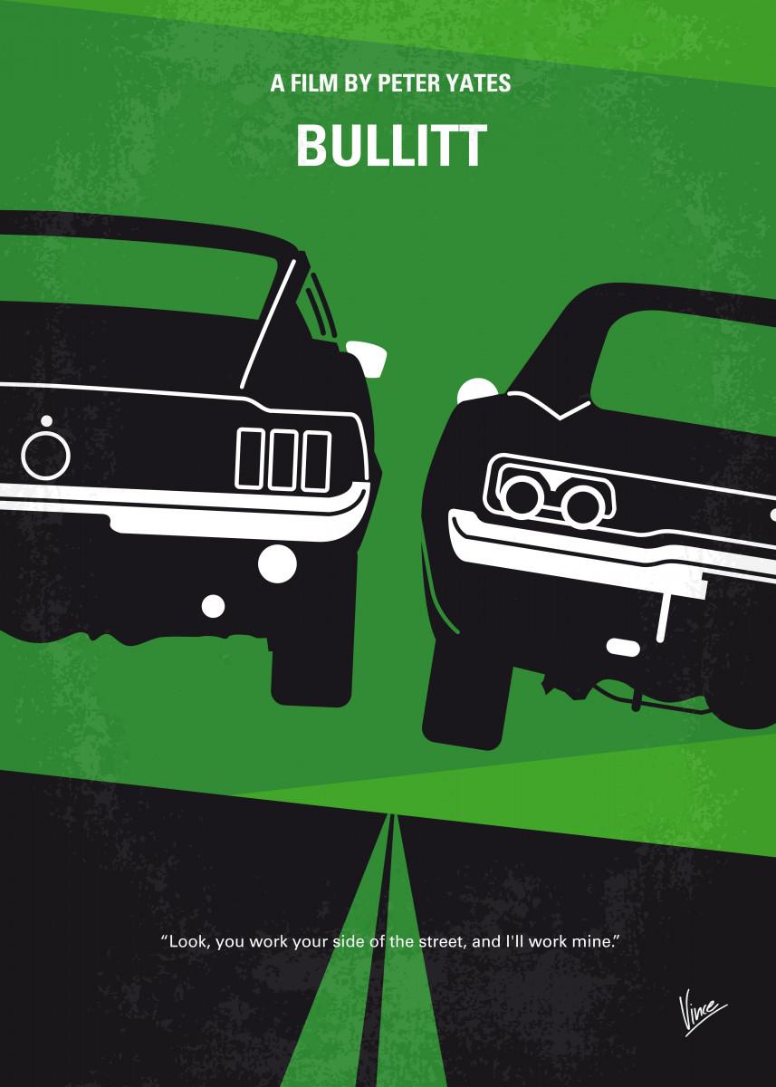 No214 My BULLITT minimal movie poster An all guts, no glory San Franc 23872