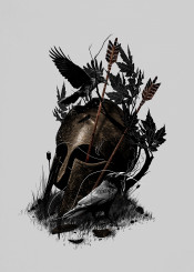 illustration legend helmet warrior crow nature animals bird birds bow arrow leaves dark