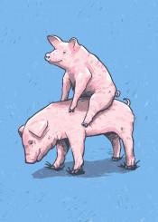 piggy back ride pigs farm animals cute clever blue kids children fun ronan lynam