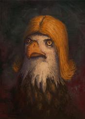 bald eagle funny wig toupee patriotic america digital painting animal portrait ronan lynam