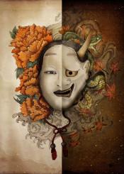 noh masks japan ying yang flowers