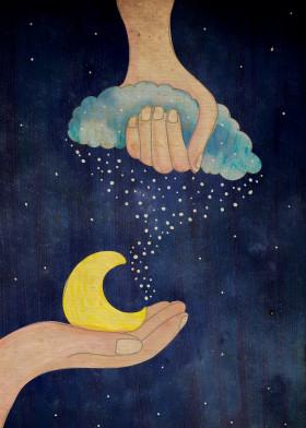 cloud star universe galaxy sky moon hand cute night