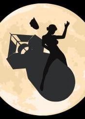 girl riding bomb moon cowgirl