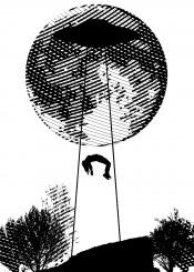 alien abduction cliff ufo beam black white