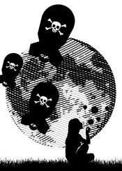 bubbles girl bomb moon etch death