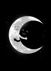 moon space smile cute humor bw