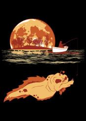 big fish monster line fisherman boat lake river catch hook moon