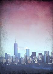 new york ny newyork gotham city vintage manhatten statenisland skyscraper silhouette cityline skylin