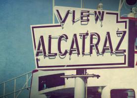 san francisco sanfrancisco sf alcatraz sign street sign vintage shabby popart fiftiesstyle bebop cal