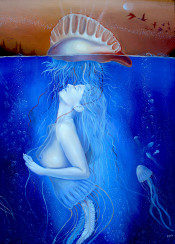 sea ocean jelly fish portuguese man of war woman gas transformation