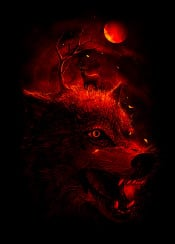 wolf deer animals nature dark horror moon red tree