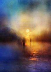 landscape people shadows blue sunset fineart