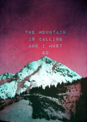 mountain calling quote muir winter red dark snow men gift vintage shabby office mensroom purple dark