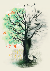 nature art artsy death love water color abstract animals trees