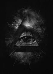 eye space stars symbol triangle illuminati black white