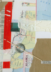 alaska collage paper torn red maps