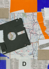 collage maps disk paper