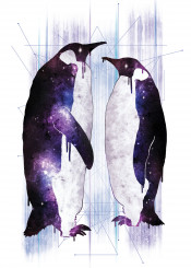 space stars cosmic animals penguins fantasy abstract purple