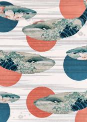 whale polka dots ocean