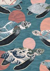 sea turtle ocean polka dots