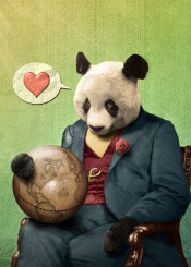 panda vintage love world animals wise antique