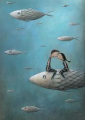 love romantic fish blue sea kiss