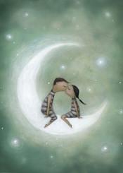 love moon kiss light star