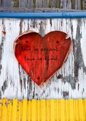 love heart patient kind rustic painted wooden textures saying bible verse inspiration scripture