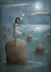 violin girl moon sea musician