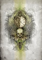 skull wings time clock roses green