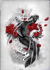 koi black flowers waves courage red