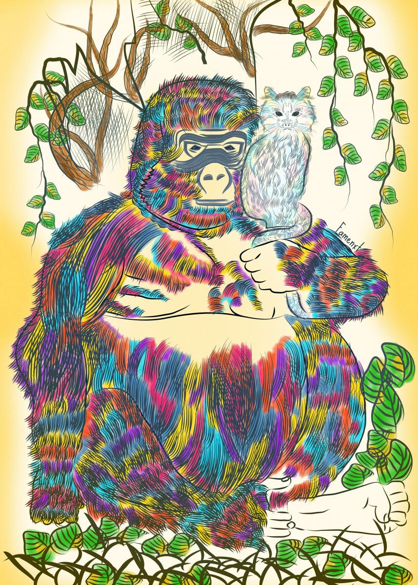 Vibrant Jungle Gorilla and his Cat 35001