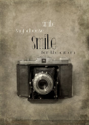 camera vintage antique smile say cheese black and white text