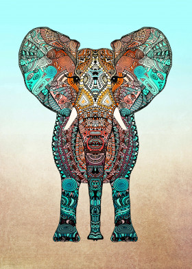 elephant aztec ornate pattern illustration mint fading boho tribal texture africa animal lion orange