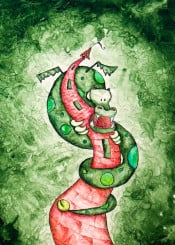 kids children tale tower dragon green soft red watercolor