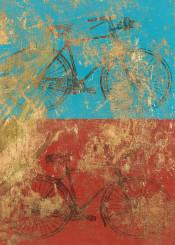art digital vintage colors bike red blue