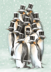 penguins winter cold snow tophats victorian dapper whimsical birds cute funny tuxedos blue animals